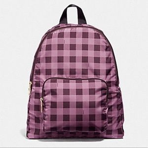 NEW Coach PACKABLE BACKPACK In GINGHAM Purple